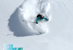 Powder turn of Noddy Gowans professional skier